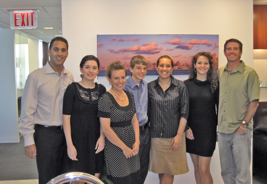 In the photo from left to right:  John Liporace, Jr., Laura Stevenson, Nicole LaCroix, Ben Taylor, Samantha Merwin, Mary Donohue, Sean Swarner.