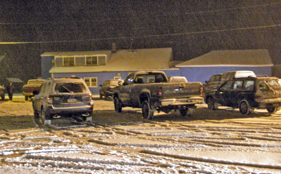 The Berlin Fire House parking lot on Community Avenue was packed as more than 60 people braved the elements on Thursday, February 19, to attend the public hearing on a proposed cell phone tower installation on Satterlee Hollow Road in Berlin. (Kieron Kramer photo)