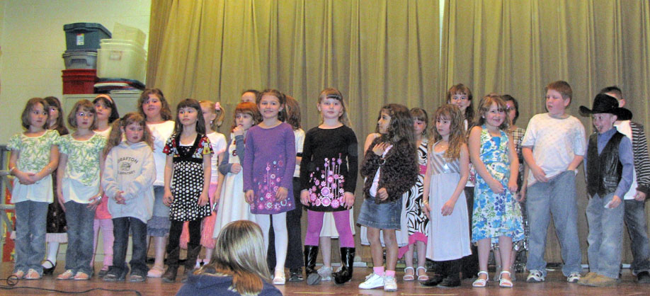 These kids performed in the Grafton Elementary School Talent Show on Friday, March 21, at the school. There were 19 acts in all.  A 50/50 raffle was held to raise money for the playground.  A generous winner donated his $90 share back to the school. Photo courtesy of Kasey Flanigan.