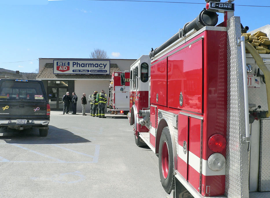 On Monday the Hoosick Falls Fire Department responded to a call at the Rite Aid store on Main St. regarding oily residue and odor in the building. (Bea Peterson photo)