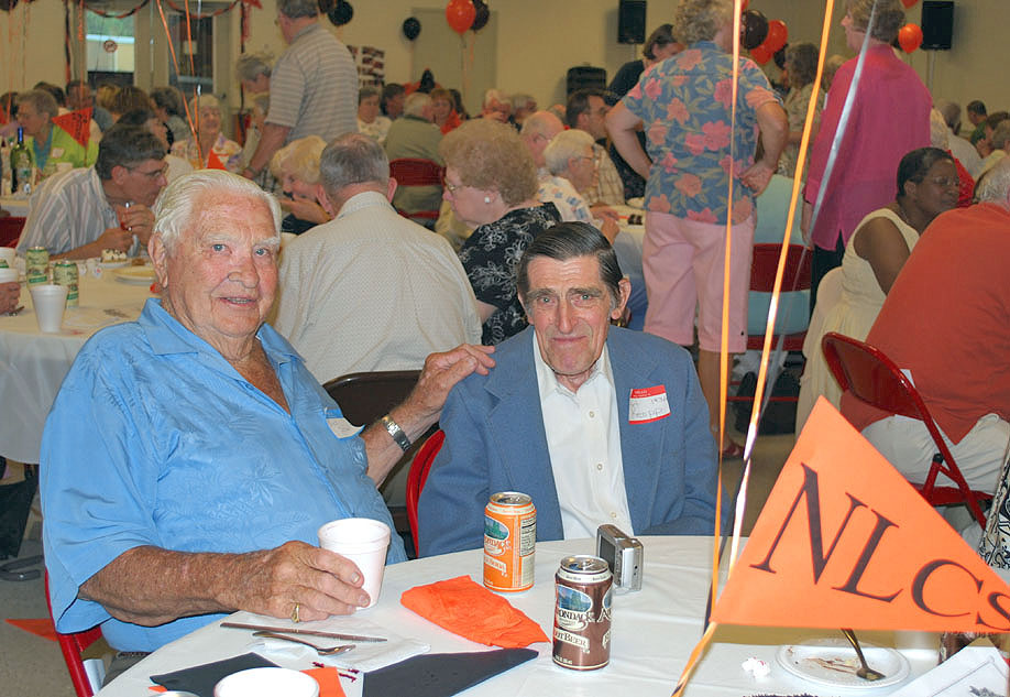"The two elder statesmen at the New Lebanon Central High School 2009 Alumni Dinner held last Saturday at the Stephentown Fire Hall are William ""Bud"" Schell (l), Class of 1935, and his younger classmate, Art Koepp, Class of 1936. Both are residents of Stephentown. (David Flint photo)"