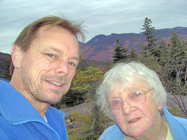 John Leahy and his mother Kay Frey at the top of Round Mountain before being separated during their frightening night on the mountain. Photo courtesy of John Leahy.