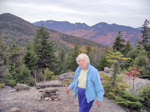 Kay Frey on top of Round Mountain before the life threatening trip down the mountain in the darkness. Photo by John Leahy.