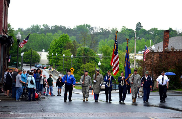The American Legion Post #40 Color Guard started off the Hoosick Falls Memorial Day Parade at the Shop Bridge. (Bea Peterson photo)