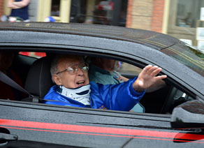 Former Air Force veteran, American Legion Commander and Hoosick Falls Mayor Don Bogardus smiled and waved to the crowd as Grand Marshal of the Memorial Day Parade. Don and his wife Esther were recently in an auto accident. Don is still wearing a neck brace, and Esther is still recovering at the Center for Nursing and Rehabilitation At Hoosick Falls. (Bea Peterson photo)