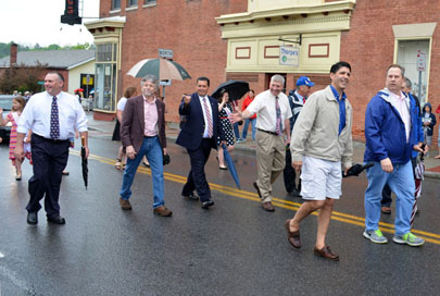 Hoosick Town Supervisor Mark Surdam, Hoosick Falls Mayor David Borge, Rensselaer County Legislator Stan Brownell, Deputy Supervisor Jeff Wysocki, Councilman Bruce Patire, Deputy Mayor Ric DiDonato, Trustees Ben Patten and Bob Downing were among those marching in the Hoosick Falls Memorial Day Parade on Monday. (Bea Peterson photo)